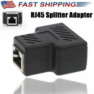 1PC RJ45 Splitter Adapter 1 to 2 Way Dual Female Port CAT 567 LAN Ethernet Cable