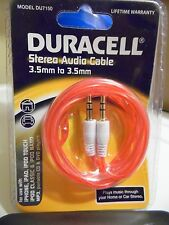 1- Duracell DU7150 STEREO AUDIO CABLE APPLE IPOD IPHONE MP3 AUX INPUT 3.5MM RED
