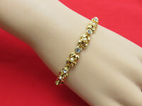 Mod Vintage Tennis Bracelet Faux Pearl Rhinestone 8 inch Gold Chain Signed 222h