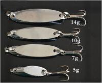 Lot 10Metal Spoon Fishing Lure Bass Bait Stainless Steel Split Ring Treblehook N