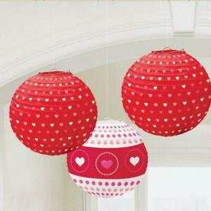 Valentines Red & White Heart Patterned Large Hanging Lantern Decorations x 3