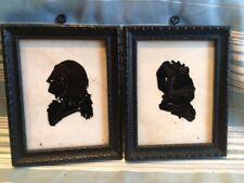 Glass Silhouette Martha & George Washington 2 Pictures Vintage