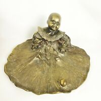 Antique Brass Inkwell Child in Dress Gown Patinaed Happy Infant Unbranded