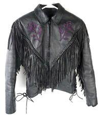 Womens Hudson Motorcycle Fringe Jacket w/ Flower Embroideries Sz XS