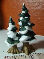 Grandeur Noel Evergreen Snowy Trees Victorian Christmas Village 2000 Miniature