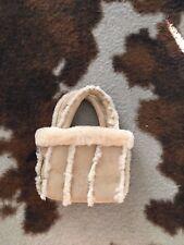 Women's Canterbury International sheep skin and suede handbag $70 NWT