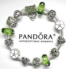 Authentic Pandora Bracelet Silver Bangle With Love Heart & Green European Charms