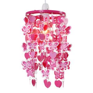 Girls Bedroom / Nursery Light Shade Pink & Red Butterfly & Heart Design Pendant