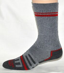 Farwest DriStride Men's Hiking Crew Socks Gray And Red Size L