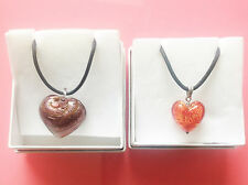 Set Of 2 Antica Murrina Glass Heart Pendant Necklace In Gift Box