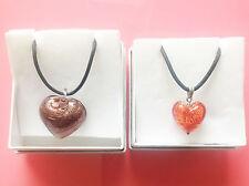 Set di 2 Antica Murrina Collana con ciondolo a forma di cuore di vetro in confezione regalo