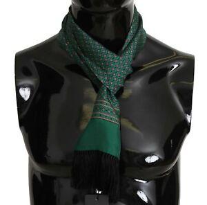 DOLCE & GABBANA Scarf Green Baroque Tassel Mens Silk Shawl 16cm x 140cm RRP $300