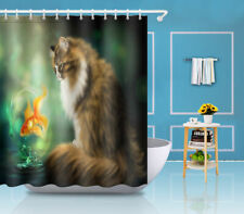 "Animals Print Cats Jumping Fish 71"" Bathroom Polyester Fabric Shower Curtain Set"