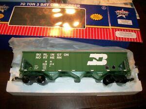U S A BURLINGTON HOPPER TRAIN CAR..  G SCALE-WITH COAL LOAD