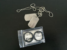 DOG TAG AMERICAN US MILITARY ARMY CHAIN NECKLACE PENDANT SILVER