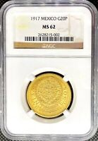 1917 Gold 20 Pesos Mexico Viente Pesos NGC MS62 Aztec Calendar Coin • KEY DATE!