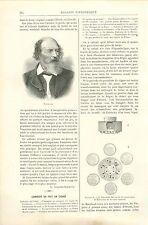 Portrait de Alfred Tennyson Poète Angleterre UK GRAVURE ANTIQUE OLD PRINT 1892