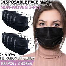 Black Disposable Face Mask [100 PCS] Non Medical 3-Ply Earloop Dust Cover Masks