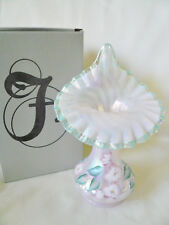 Fenton IRIDIZED Glass ~ CHAMPAGNE OPALESCENT SATIN HAND PAINTED ~  TULIP VASE