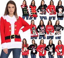 Ladies Unisex Mens Novelty Retro Boucle Reindeer Christmas Xmas 3D Jumpers Tops