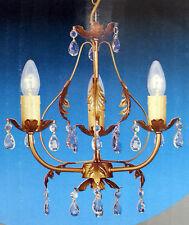 3 Light Gold Painted Birdcage Ceiling Light Chandelier Crystal & Leaf Effect