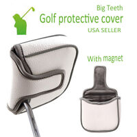 "Golf Accessory Square Mallet Putter Head Cover Headcover Magnetic 5""x4.2"" white"
