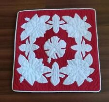 2 Hawaiian quilt handmade 100% hand quilted/appliqued cushions pillow covers 18""
