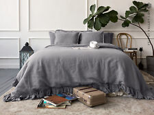 LINEN DUVET COVER. US Queen size charcoal grey comforter cover with ruffles