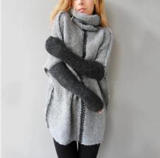 Women Long Sleeve High Collar Tops Sweatshirts Sweater Kint Pullover Dress US