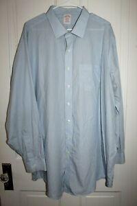 BROOKS BROTHERS Classic Dress Shirt Men's 19 - 36 Blue White Striped Cotton