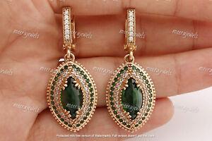 3.50Ct Marquise Cut Green Emerald Drop & Dangle Earrings 14K Yellow Gold Finish