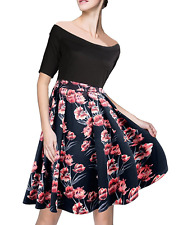 Women's Retro DRESS 1950s Casual Business Pleated Off Shoulder Floral Flare