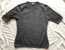 Talora 100% Cashmere Gray Short Sleeve V-neck Sweater Top Size XS Career
