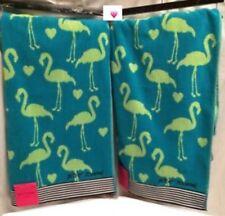Betsey Johnson Flamingo Party 2 Pc Bath Sheets Towel Set Turquoise Blue Lime Nwt