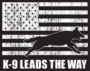 "T-Shirt ""K9 LEADS THE WAY"" Police & Working K9 Foundation Black 100% Cotton"