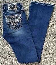 NWT Miss Me Thick Stitch Studded Bling Mid-Rise Boot Dark Denim Jeans Size 26