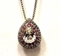 925 Sterling Silver Halo pear pink white created sapphire pendant necklace 3.7g