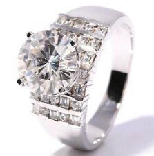 Engagement Mens Ring 925 Sterling Silver 3.24 Ct Near White Round Cut Moissanite