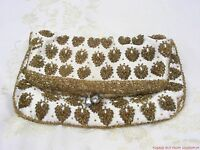 Creme Satin with Gold & Pearl Beaded Leaves Hand Bag Purse Clutch TRUE VINTAGE