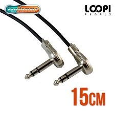 "15cm 1/4"" Stereo Pancake Right Angle Effect Patch TRS Lead - Van Damme Cable"
