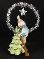 "Christmas Ornament Figurine Snowman Star Tree Topper Resin 6.5"" Stand Alone"