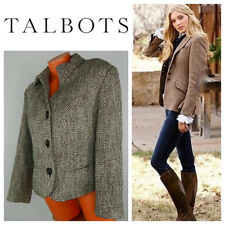 Talbots 12 Large Blazer Jacket Coat Tweed Brown Tan Wool Blend Career Casual h
