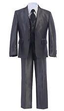 Gorgeous Premium Boy's 5pc Shiny Formal DARK GREY Dress Suit w/ Vest Sz 2-20
