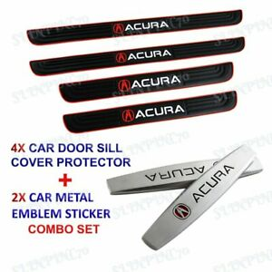 4PCS Black Rubber Car Door Scuff Sill Cover Panel Step Protector Combo For Acura