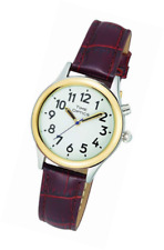 TimeOptics Women's Talking Two-Tone Day-Date Alarm Leather Strap Watch # GWC100T
