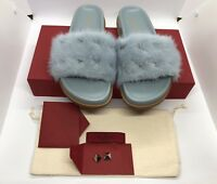 Valentino Garavani 100% Auth Rockstud Flat Mink Fur Slide Sandals NWT $596 Sz.38