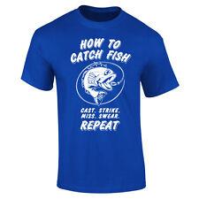 Mens How To Catch Fish Fishing Angling Funny Slogan T-shirt S-XXL