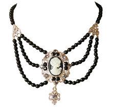 Gothic Trachtenschmuck Perlen Gemme Kamee Kristall Collier schwarz Antikstil