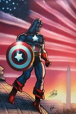 HOWARD CHAYKIN rare CAPTAIN AMERICA giclee CANVAS signed 2X STAN LEE #5/99 COA