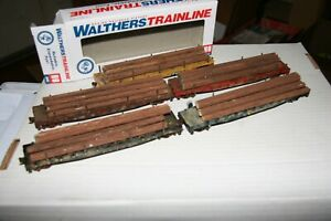HO WALTHERS TRAINLINE FLATCARS WITH LOADS 5 PCS.   FROM ESTATE AJ